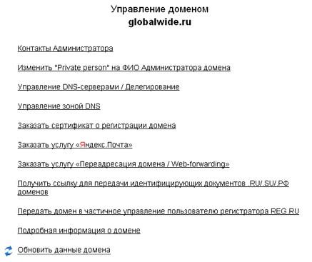 Опции домена