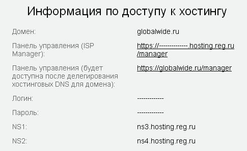 Информация по доступу к хостингу