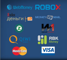 WebMoney, ROBOXchange, Яндекс.Деньги, MoneyMail, Z-Payment, Единый кошелек, QIWI, RBK Money, MasterCard, VISA, и др.
